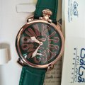 Luxury wristwatch imechanical taly GAGA watch 3D number green leather strap watch large dial cowhide watchband fashion gaga milano watches